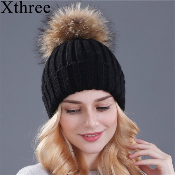 Xthree mink and fox fur ball cap pom poms winter hat for women girl 's hat knitted  beanies cap brand new thick female cap 2