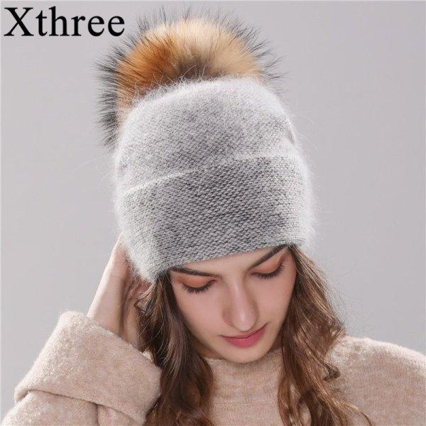 Xthree new women's hat winter beanie knitted hat Angola Rabbit fur Bonnet girl 's hat fall female cap with fur pom pom 2