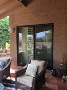 bronze exterior patio door