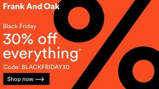 frank and oak 30% off Black Friday deal