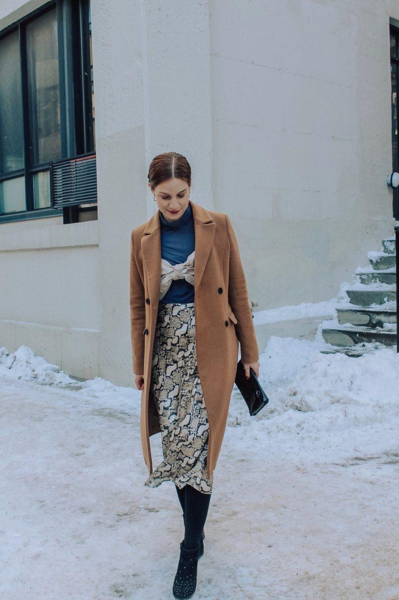H&M calf-length snakeskin skirt
