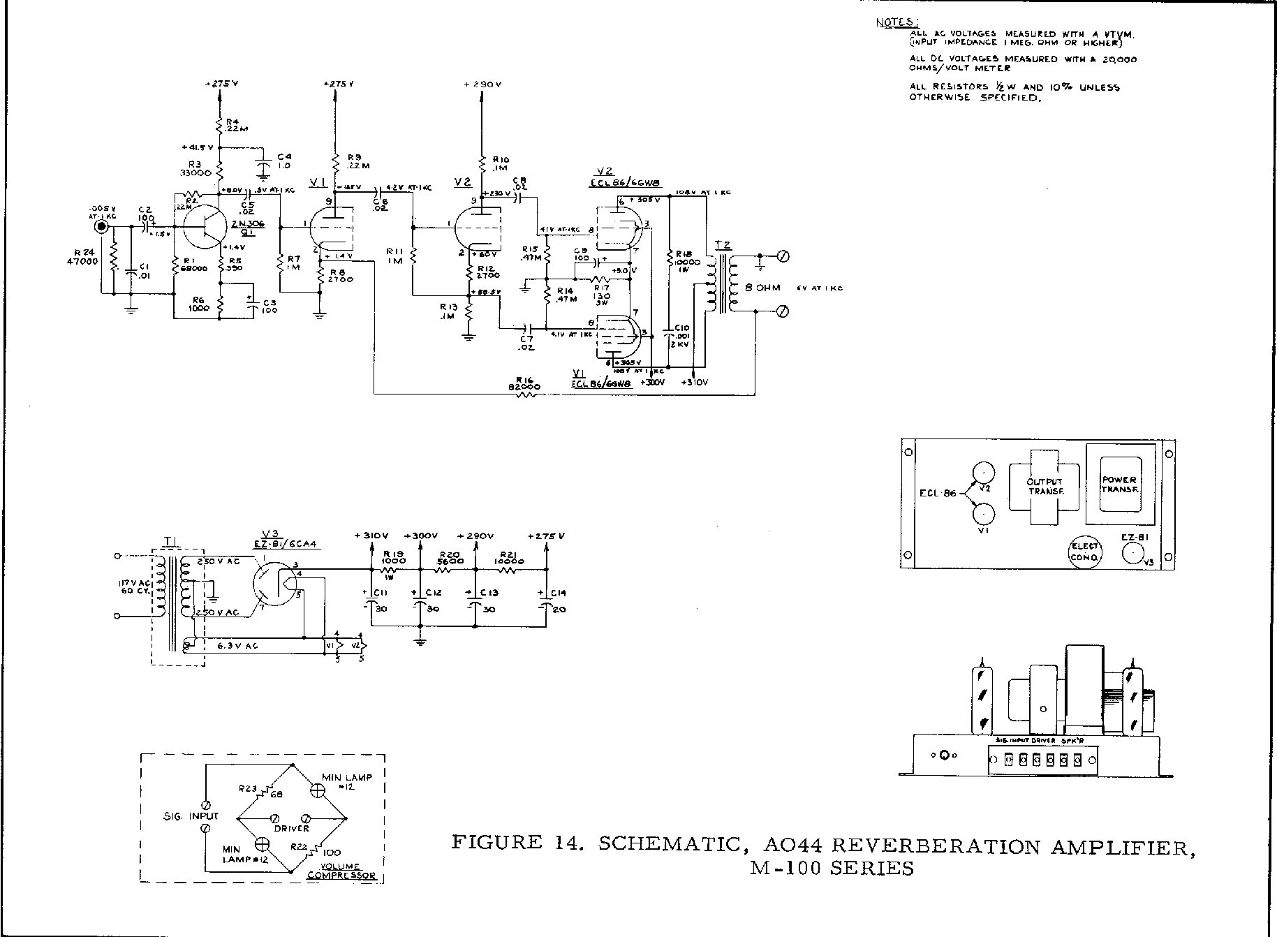 hight resolution of m 100 a 100 ao 44 reverb amp schematic