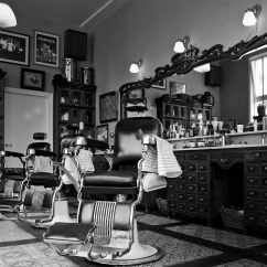 Black White Barber Chair Wingback Leather Mojo Barbershop  Hawaii Captain And Clark