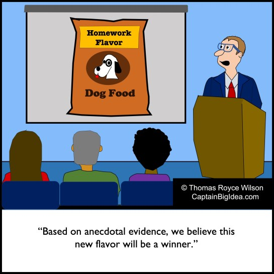 Cartoon about homework-flavored dog food.