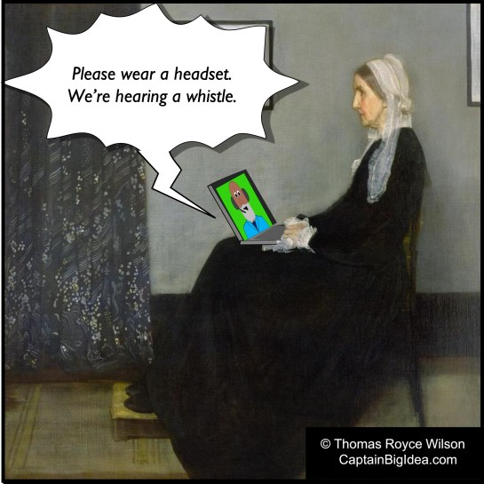 Cartoon about Whistler's mother trying to video conference.