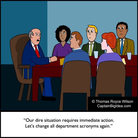 Cartoon of a business meeting.