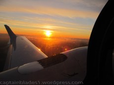 Looking out over the wing at the sunset