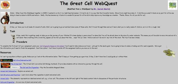 The great cell web quest
