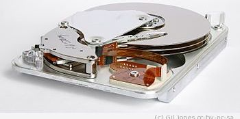 Inner view of a Seagate 3.5 inches hard disk d...