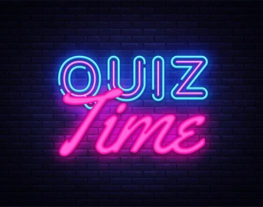 Quiz Time neon sign vector. Quiz Pub Design template neon sign, light banner, neon signboard, nightly bright advertising, light inscription. Vector illustration