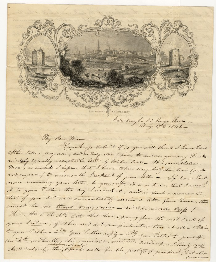 A letter to Neil MacGregor from a friend in Edinburgh who had visited Neil's father in Paisley. The letter is dated May 17, 1842. 1/4