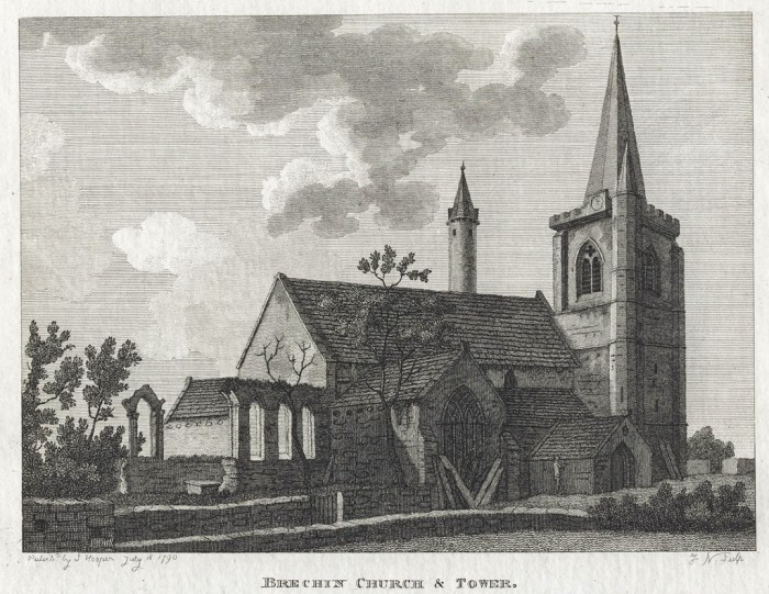 Brechin Church and Round Tower 1790 Colin Stevens Colelction