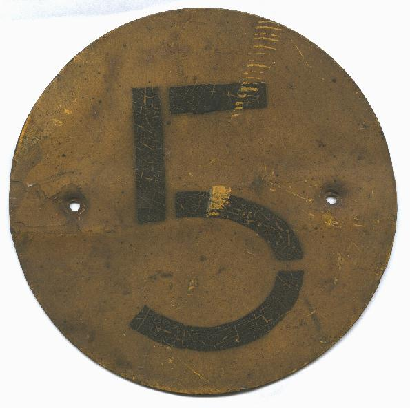 Original WWII Canadian Bridge Sign with number 5. This was off of a 15 Cwt. truck.