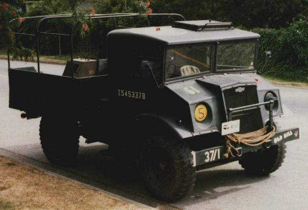World War II British Army truck parked.
