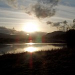 Loch Rannoch calm waters at sunset