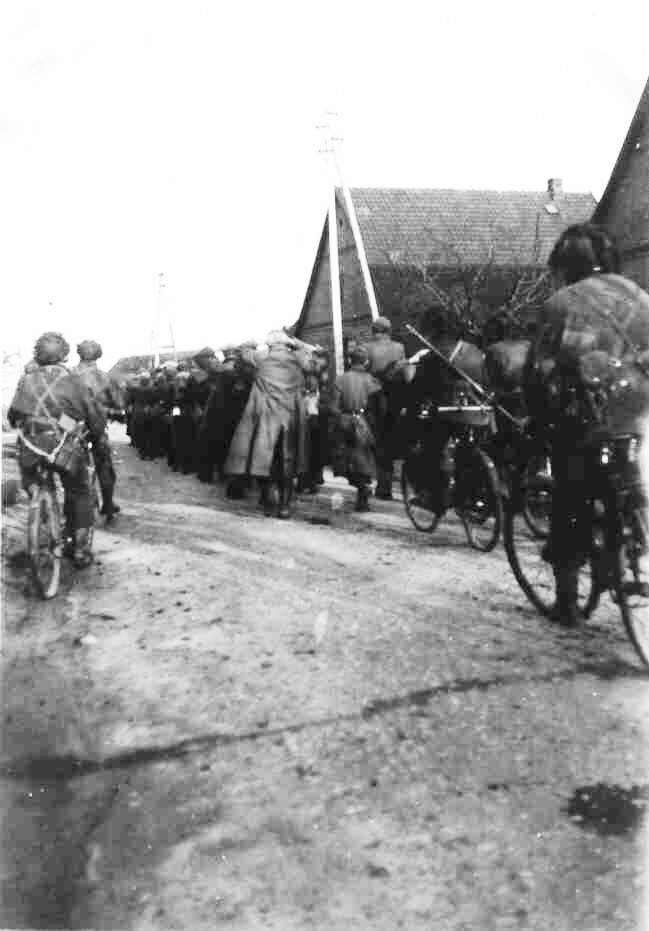 1CPB on captured bikes escorting German PW Germany Spring 1945 via Doug Morrison