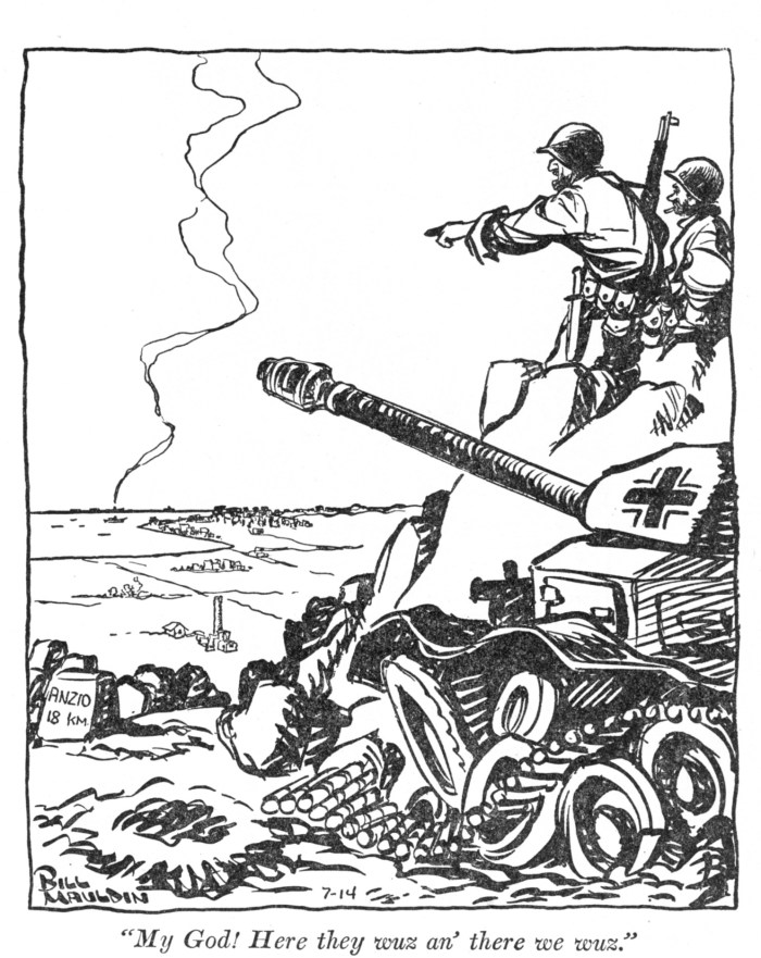 Catoon showing U.S. troops overlooking the Anzio Beachhead for now captured German position. Bill Mauldin p165 Anzio, Italy.