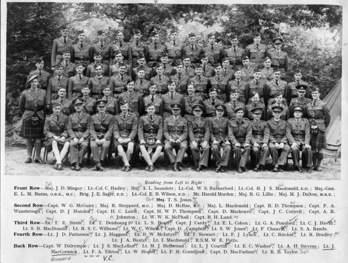 Formal group portrait of the officers of the Essex Scottish Regiment, taken in 1943 in England. They has rebuilt the regiment after the heavy losses at Dieppe in August, 1942. Essex Scottish Officers in 1943 - Lieutenant A. H. Stevens is in the back row, 6th from the left. Lieutenant Freddy Tilston is 8th from the left. Tilston later was awarded the Victoria Cross for extreme bravery in battle.