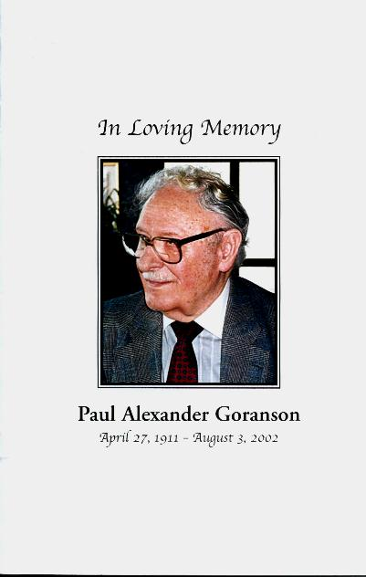Paul Goranson - Cover of memorial program