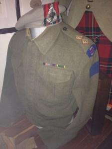 Brown World War 2 Canadian army battledress jacket and hat. Lieutenant A H Stevens Battledress (1 of 2) Essex Scottish 2nd Canadian Division 1943