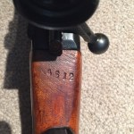 No. 4 MK. I* (T) made by SAL at Long Branch and later issued to the Indian military. Serial number 68L3200. This is the serial number of the scope that was assigned to this rifle in Indian service, a No. 4 MK. I # 4612. The number is stamped on top of the wrist of the butt, just behind the cocking piece.