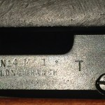 """No. 4 MK. I* (T) made by SAL at Long Branch and later issued to the Indian military. The left side of the body has """"No.4 MK. I* T"""" over """"LONG BRANCH"""" over the year 1944. Note that Long Branch is two words."""