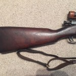 A late 1943 M1903A4 serial number 3422193. This rifle is original with the blued finish but the M73B1 scope has been refurbished by the military. - Right side of butt.
