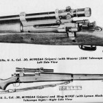 "M1903A4 rifles with Weaver and Alaskan scopes. Note there is a serious error in the manual. The upper scope is a Weaver 330 scope (click model with drums, not silent with tapered cones) and was later designated M73B1. The Lyman ""Alaskan"" scope was the M73. Those were soon modified with a rubber eyecup and front shade to become the M81 (cross-hairs) and M82 (tapered post). From US Army manual TM 9-2200 p. 17"