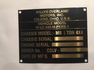 REPLICA data plate 1942 WUILLYS jeep Canadian Contract CDLV-505 - Main data plate