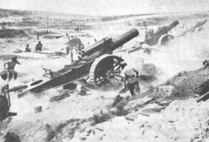 "8-Inch Howitzer. Sgt. H H Heakes commanded one of these guns. Picture of Caterpillar Valley in ""THE GUNNER"" June 1966."