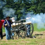 # 764 - Brass cannon firing. 1st Illinois Light Artillery Regiment Battery A Morgan's.