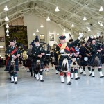 (176) Seaforth Pipes and Drums during a march past.