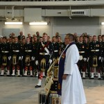Padre Jim Short leading the Drumhead Service.