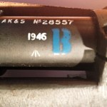 "No. 32 MK. III scope. Maker AK&S. Serial number 28557. Blue ""B"" ""Bloomed"" mark seen on many Mark 3 scopes. Also the year 1946, the "" /