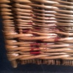British WWII wicker pannier - remains of British Broad Arrow in red paint on back corner.