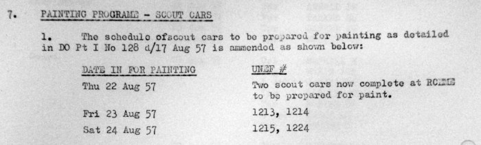 Document re: painting of Ferrets in 1957 in 56 Reconnaissance Squadron.  Revision 20 Aug 57