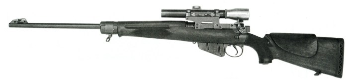 Left side of a sniper rifle