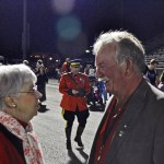 "Mrs. Jeanette Stevens speaking with Burnaby Mayor Derek Corrigan. As ""Miss Brue"", she taught his son Sean in Grade 3. Sean is now 6'6"" and has visited 65 countries."