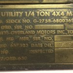 Dataplate set for a U.S. M38A1 Willys Serial Number 12855 made in July 1952