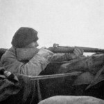 """""""The Sniper - At the Front"""" - Canadian soldier using a Ross Mk. III rifle without scope. These rifles were extremely accurate. 1915"""