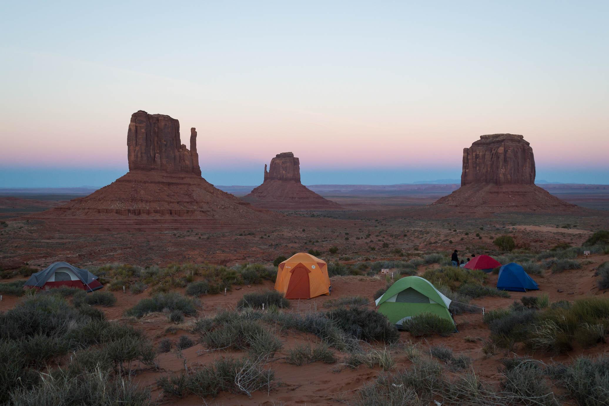 Coucher de Soleil sur la Monument Valley depuis le Campground