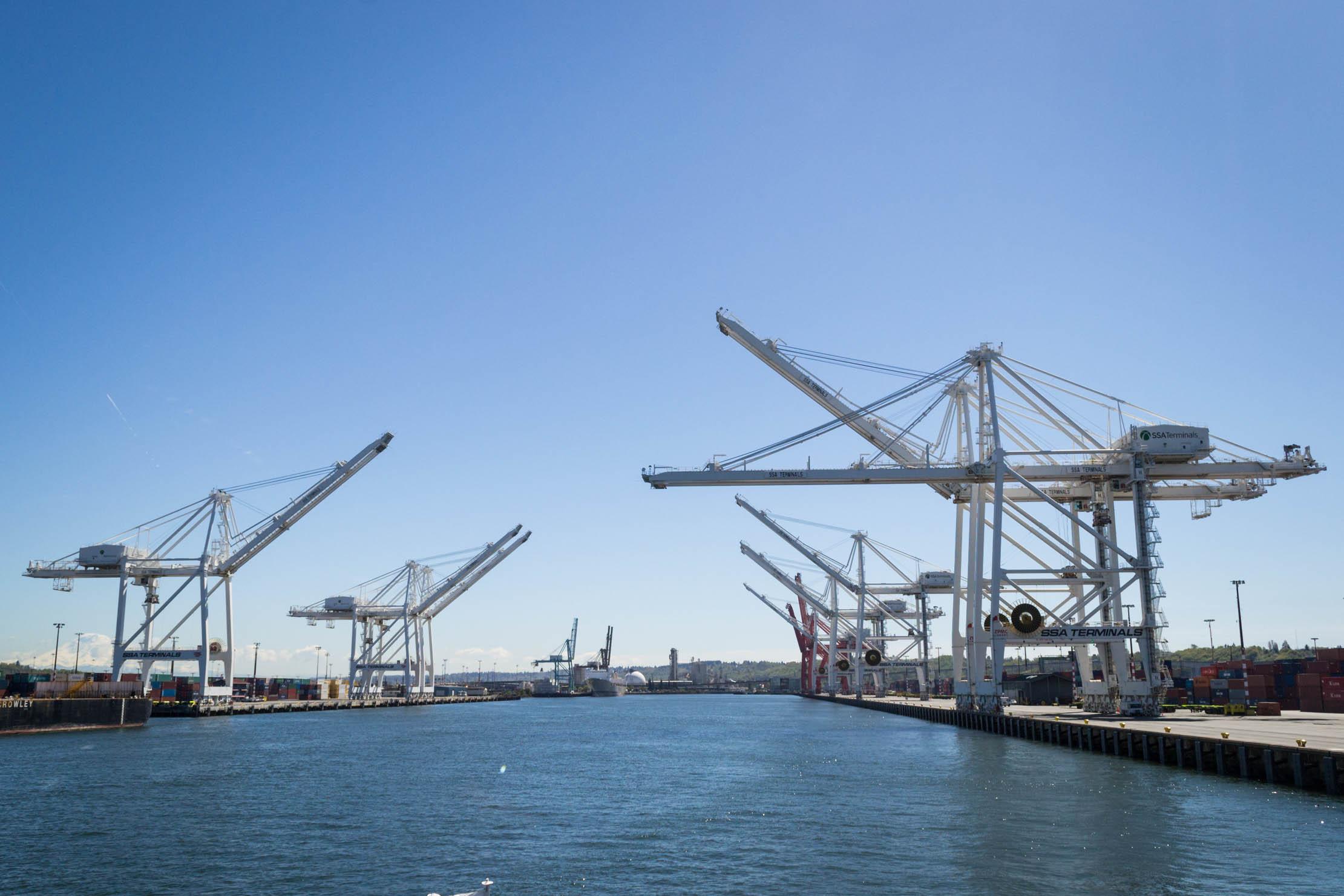 D'immenses grues pour transporter les containers du quai au bateau