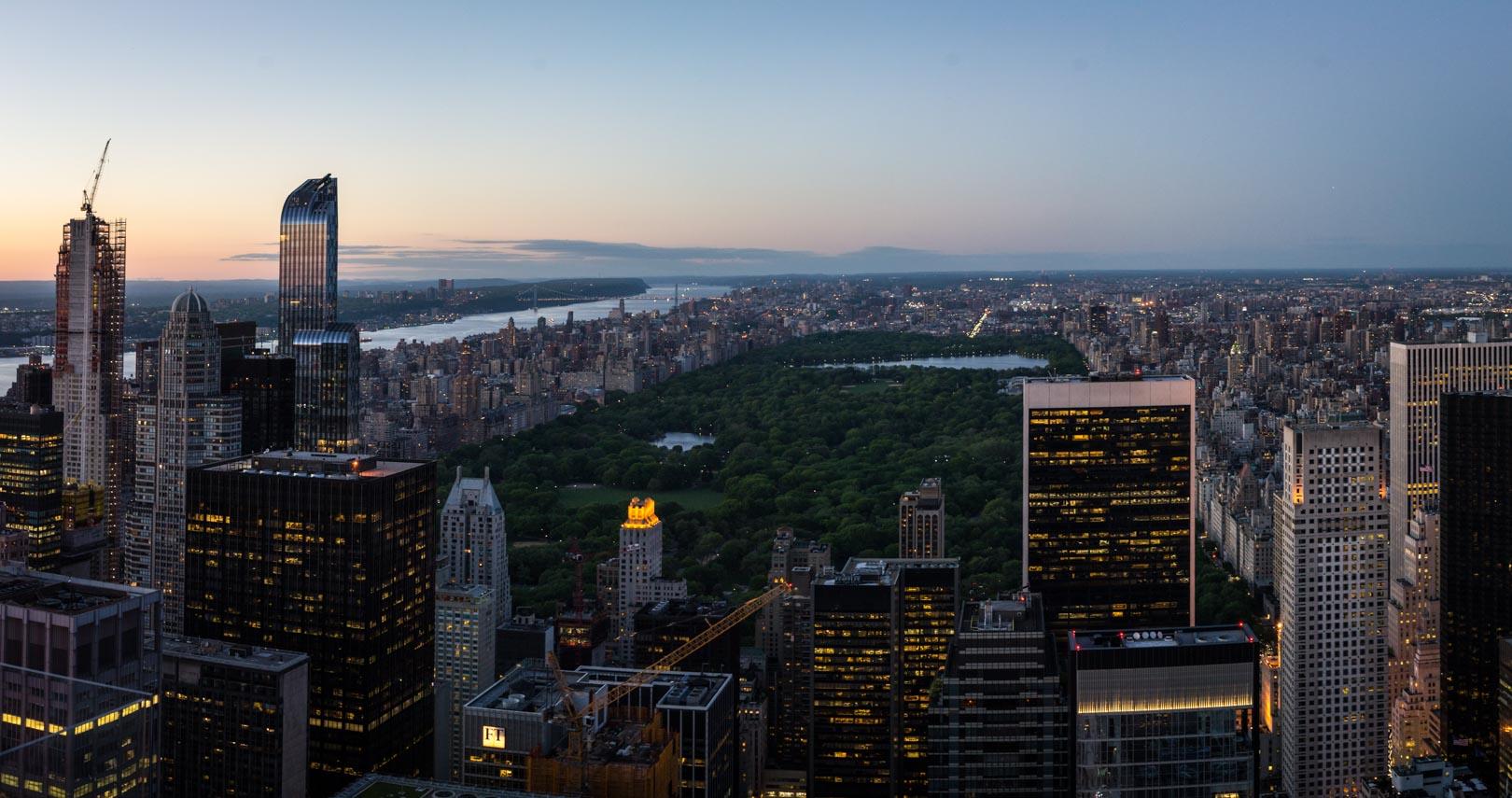 Central Park juste après le coucher du Soleil