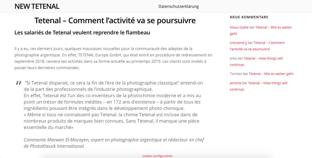 Extrait du site de New Tetenal (avec les infos en Français)