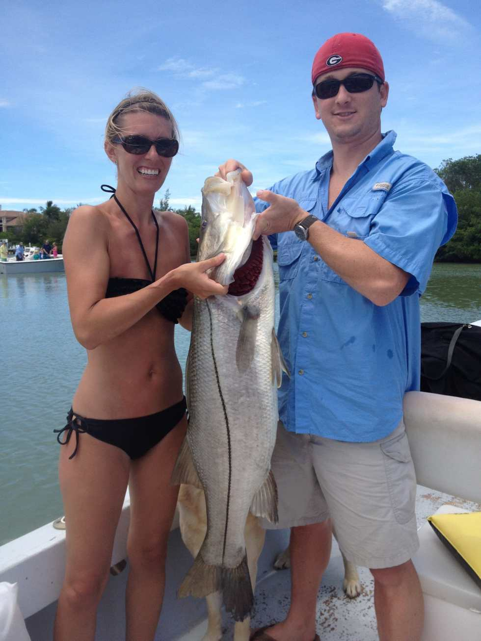 Myra's 35 pound Snook! Sanibel & Captiva charters. Sunday, November 5, 2017. [File Photo - July 12, 2012].