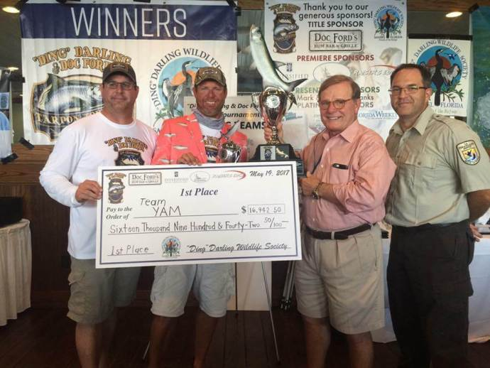 "Team YAM Wins 6th Annual ""Ding"" Darling & Doc Ford's Tarpon Tournament & Takes Home $16,942.50 And The Silver King Jacket, Saturday, May 20, Captiva Island. Photo Courtesy Of ""Ding"" Darling & Doc Ford's Tarpon Tournament."