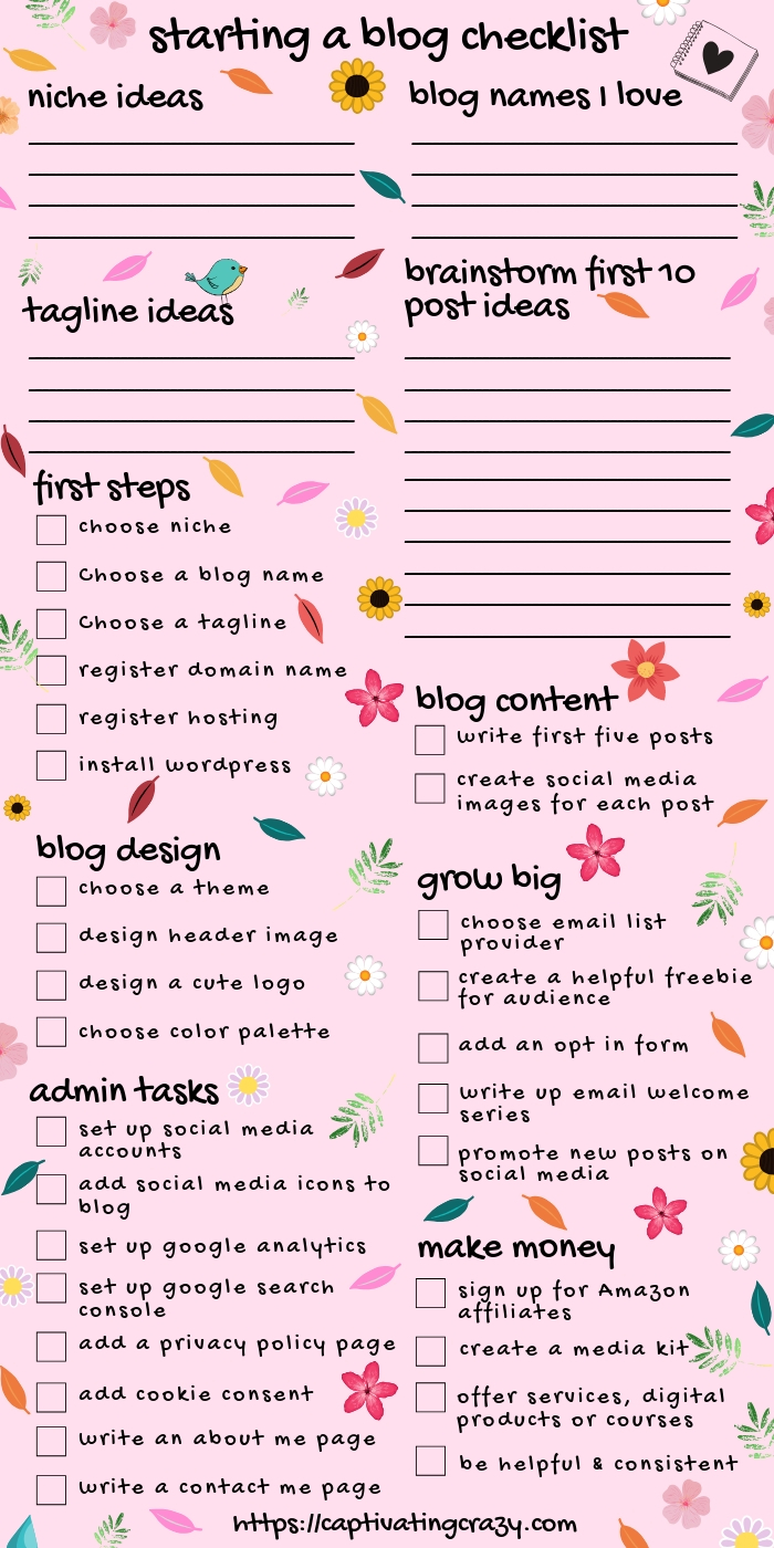 How to start a blog checklist! This inforgraphic checklist will let you know all the things to do when starting a blog... click on the pin to download your free printable how to start a blog checklist right now! #captivatingcrazy