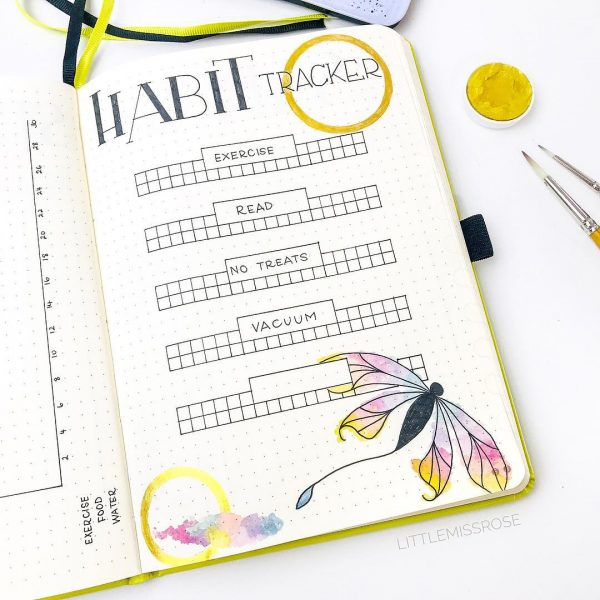 bright yellow habit tracker layout