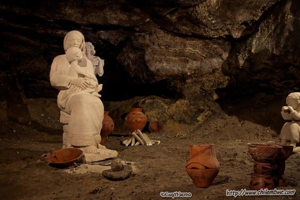 Museum display inside vetebra cave