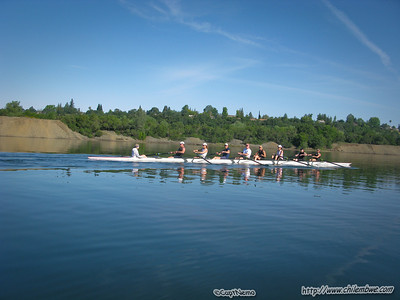 rowers warming up